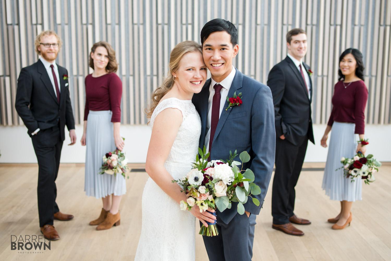 bridal party portraits at National Arts Centre