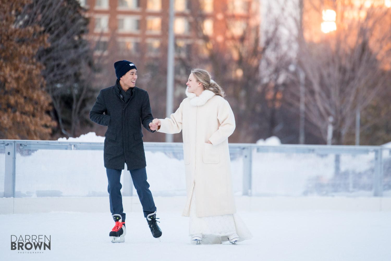 bride and groom skating