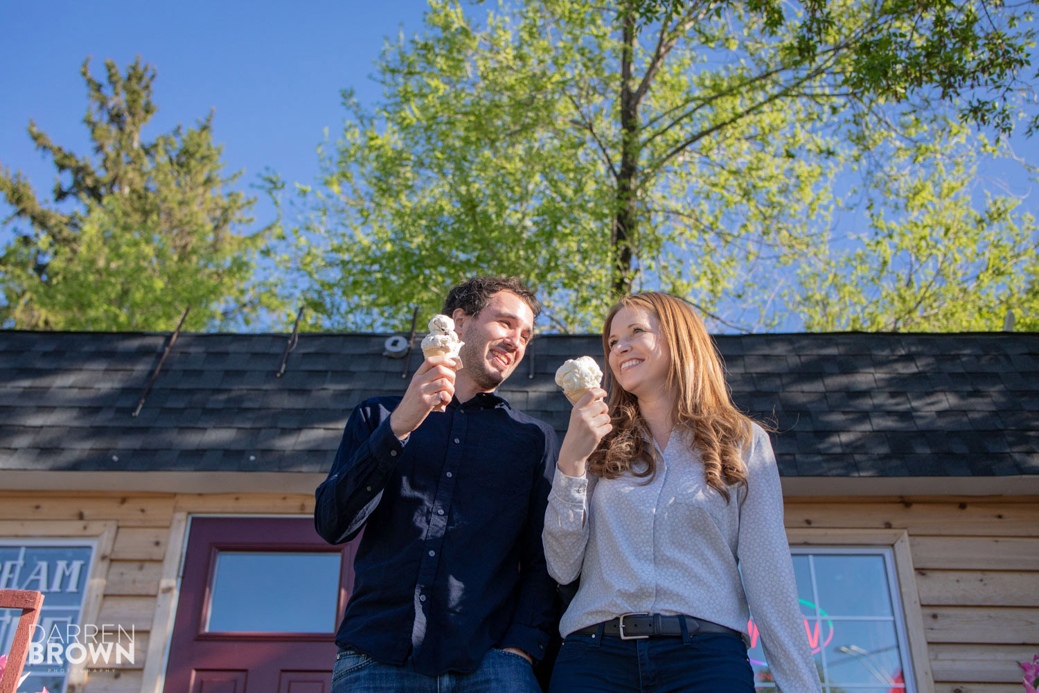 fun ice cream engagement photography session in Ottawa