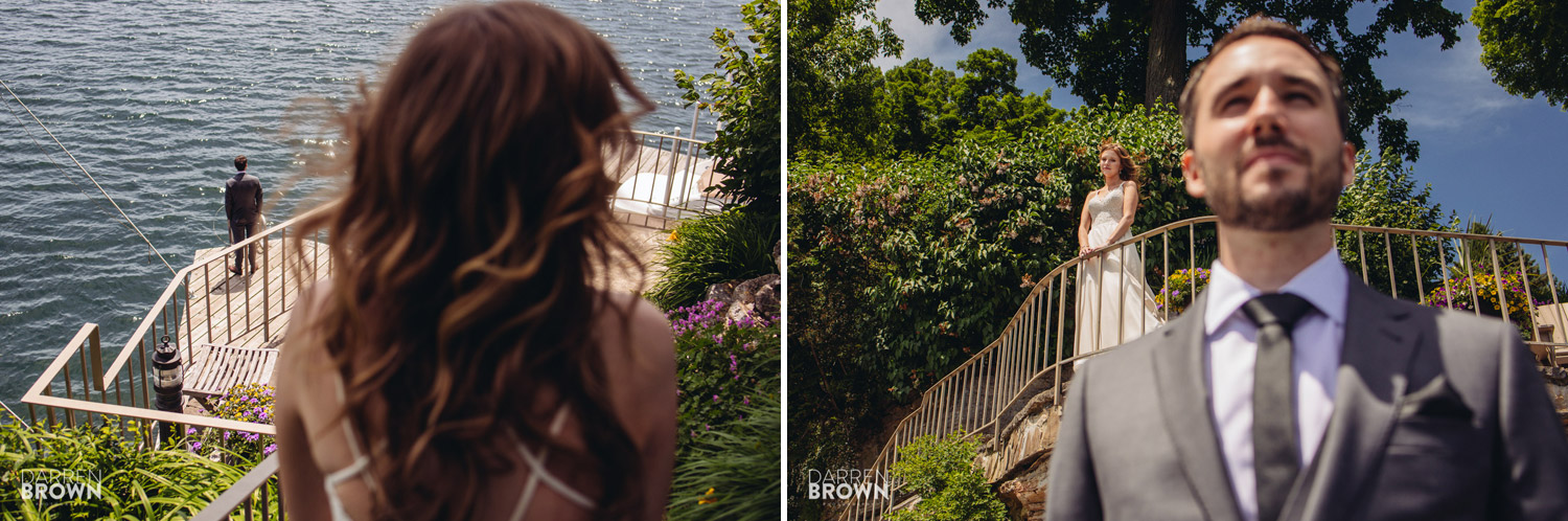backyard brockville wedding photography bride and groom first look