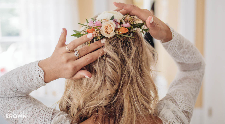 flowers in bride's hair