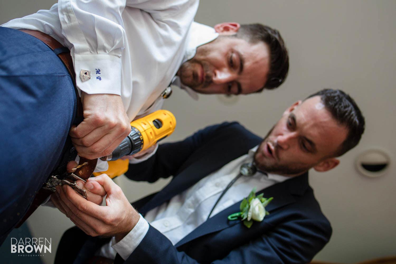 fun groom getting ready photo