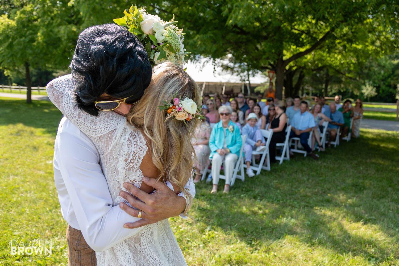 elvis hugs bride at wedding