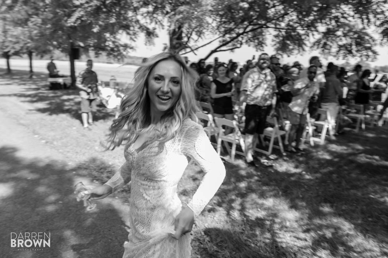 bride smiling after ceremony