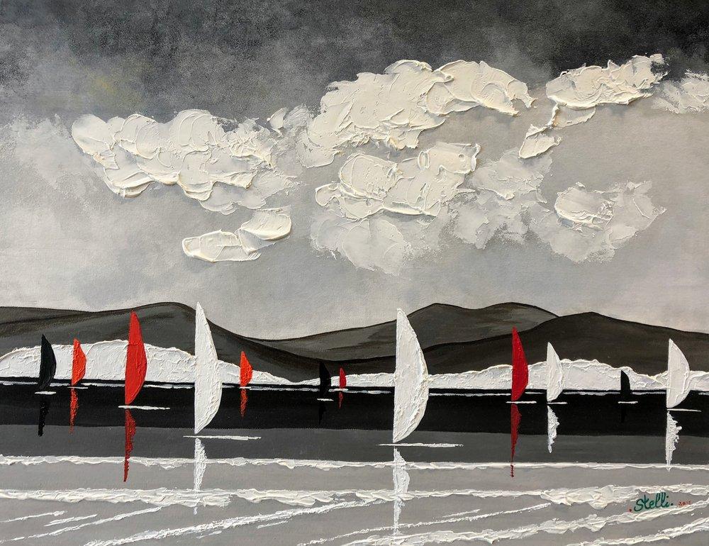 Calme avant la tempête   Peinture acrylique au couteau, sur toile