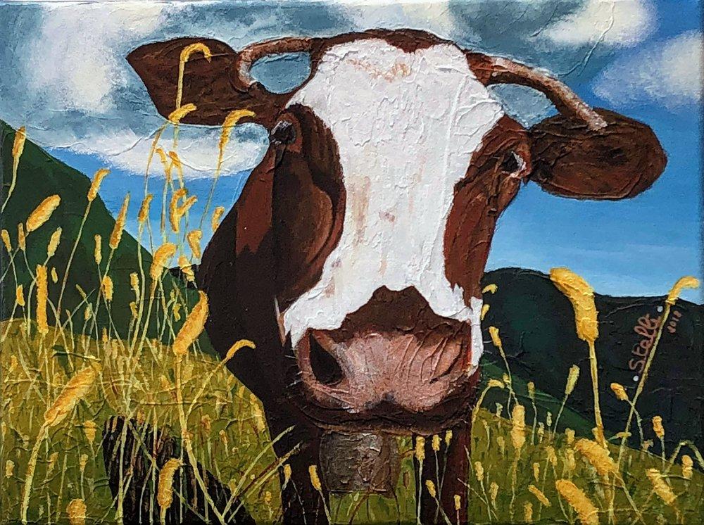 Happy Cow   Peinture acrylique sur toile