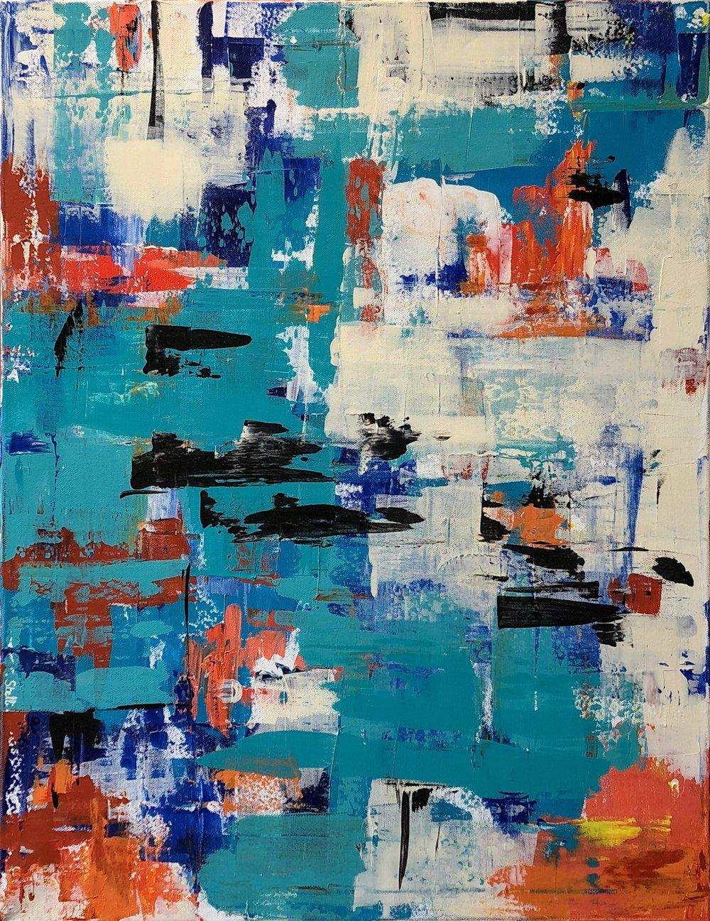 Effervescence aquatique   Peinture acrylique au couteau, sur toile