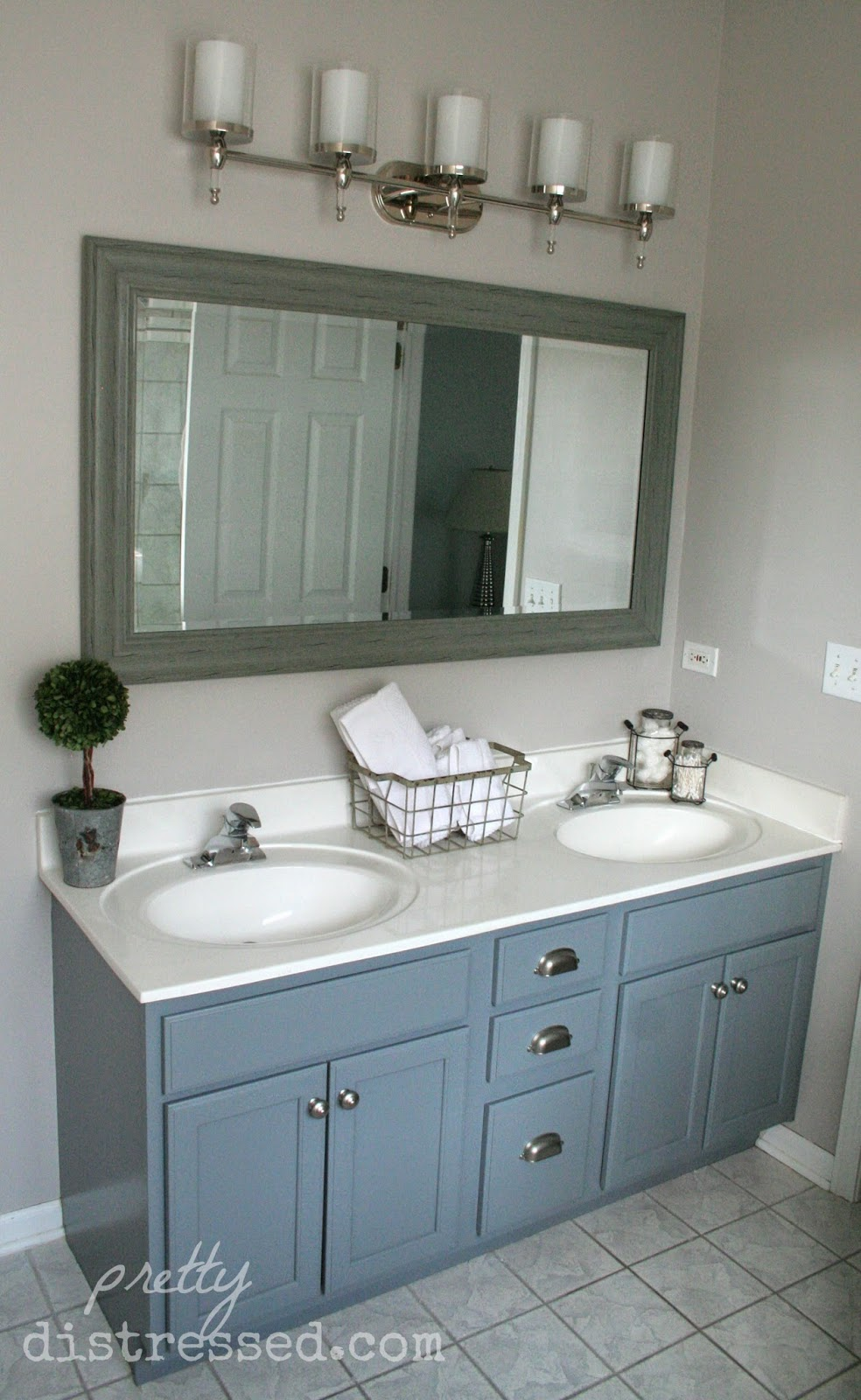Bathroom Vanity Makeover With Latex Paint Pretty Distressed Christina Muscari