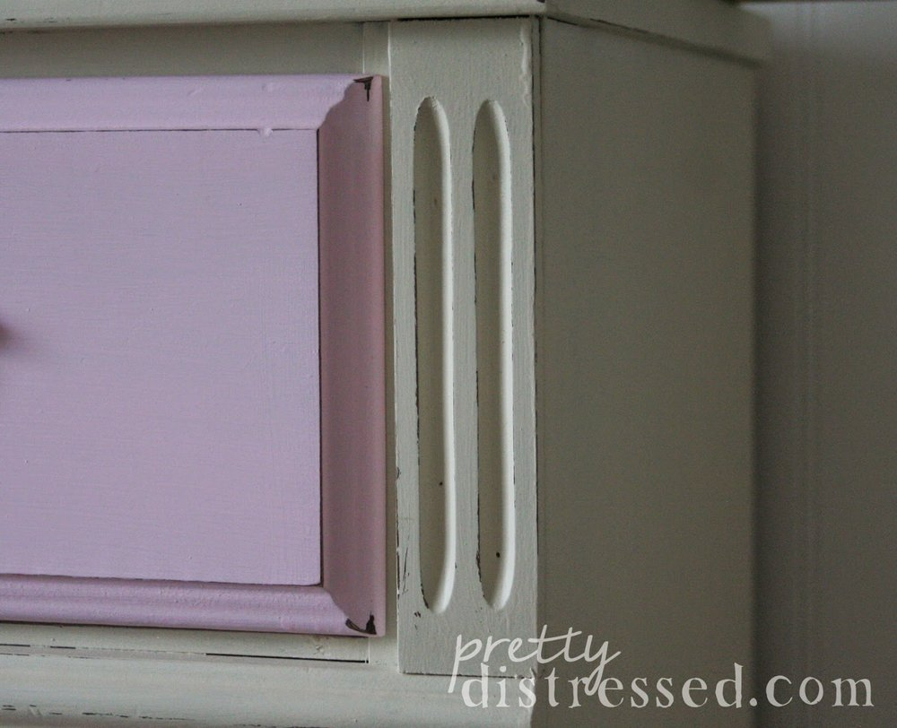 distressed white pink dresser