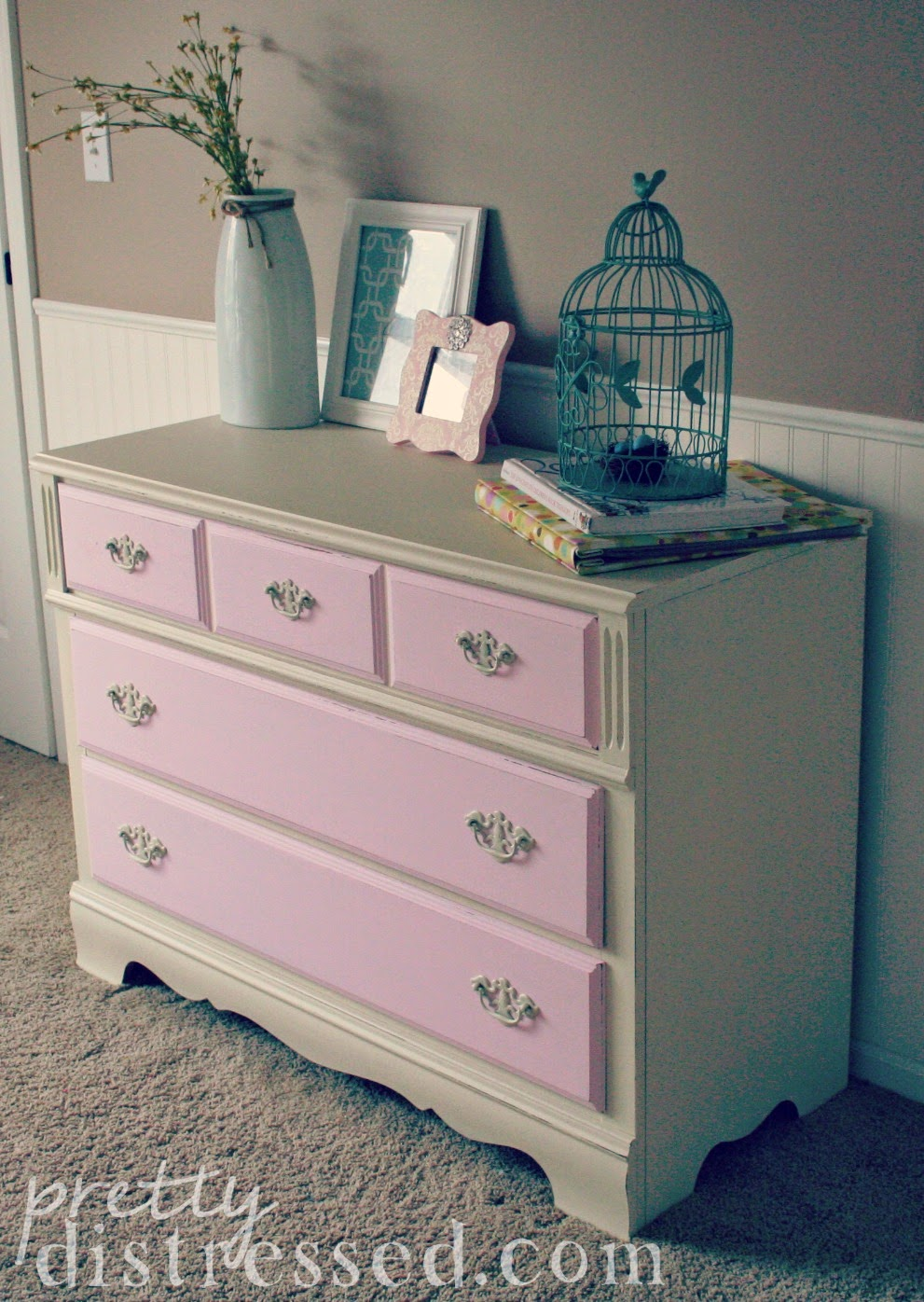 pink and white dresser