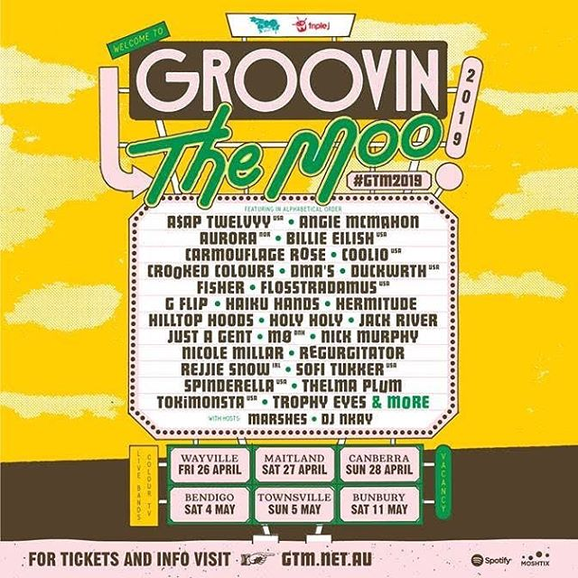 Woop!! We're stoked to be on one of our fav festivals @groovinthemoo 🐄🐄🐄 It's also the first big run of shows for us in a minute, let's do it up 🎉🎉😘 #gtm2019