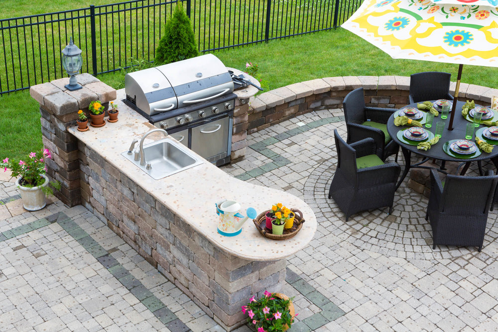 Outdoor Kitchen with Grill On Patio