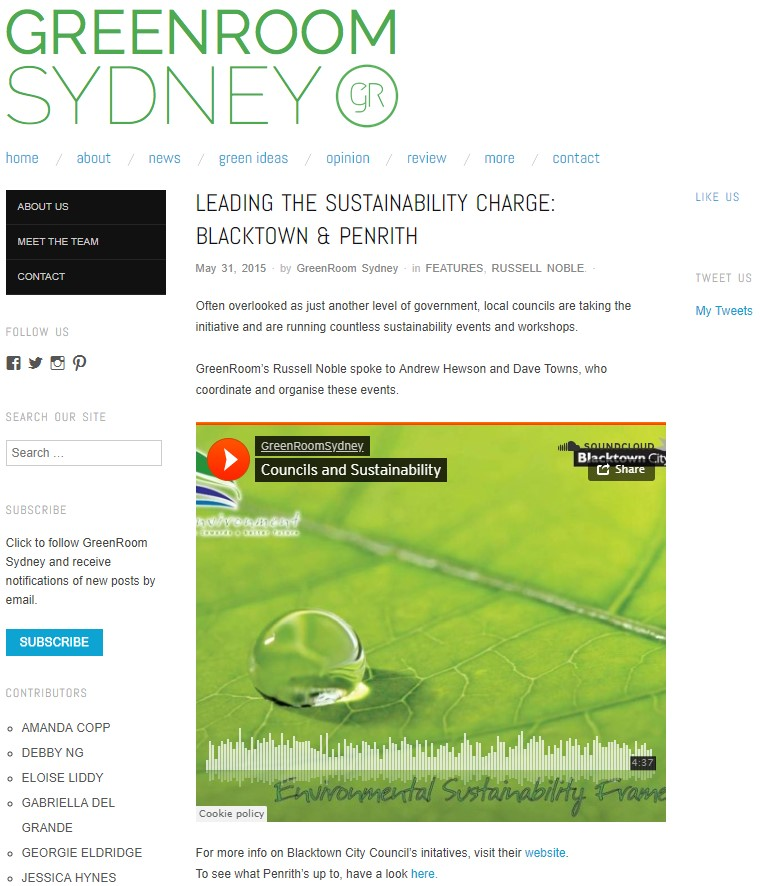 Local Councils Leading the Charge for Sustainability - In an audio news piece, I spoke to Blacktown's Dave Towns and Penrith's Andrew Hewson and asked what they were doing to preserve the state of nature in their respective areas.