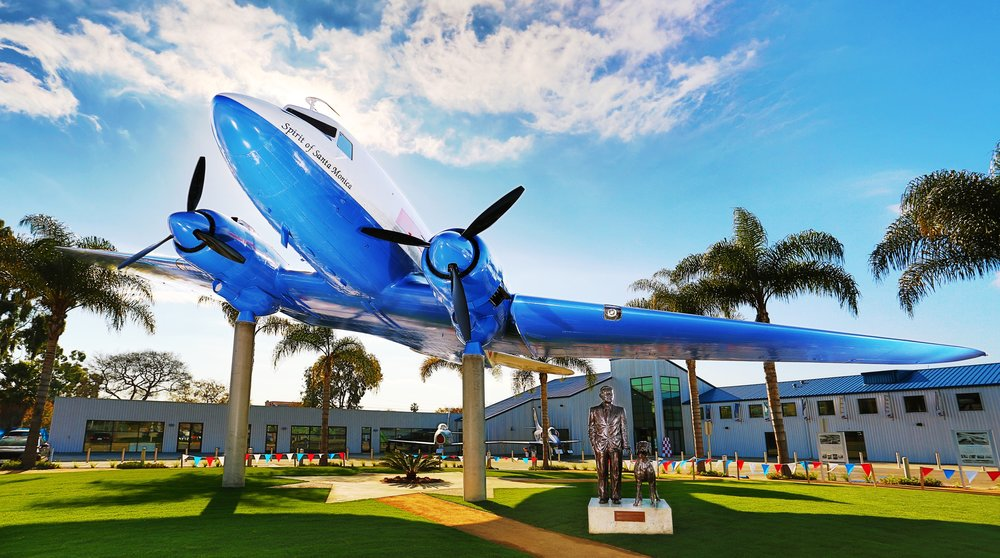 Monument to Donald Douglas under the Spirit of Santa Monica at the Santa Monica Museum of Flying