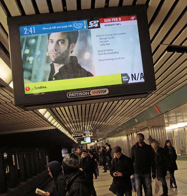"""""""   SORRY,"""" Toronto, Vancouver, throughout Canada, 2014.    On view on TV monitors in the subway systems in Toronto and Vancouver, and throughout Canada in malls, offices and elevators, """"SORRY"""" consists of photos with poems in which an anti-hero apologizes for almost everything."""