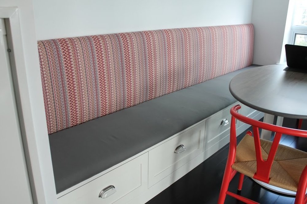 banquette seating - seating made to your specifications. customize by adding drawers or lift storage.