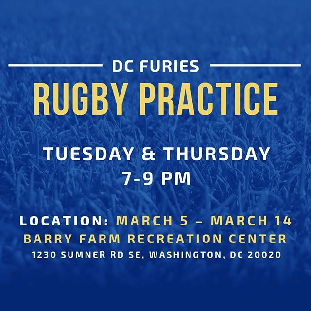 For the next two weeks, rugby practice will be Tuesday and Thursday, 7-9 PM, at Barry Farm Recreation Center in southeast DC. See ya there!!!
