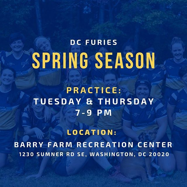 Spring season starts THIS WEEK 🙌🏻 with practices on Tuesday and Thursday, 7-9 PM. See you there! 🏉⚡️