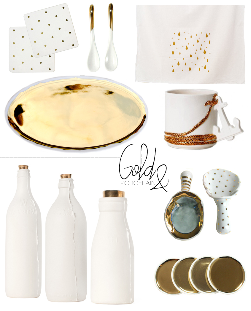Dine X Design | Gold And Porcelain Kitchen Table Top Decor