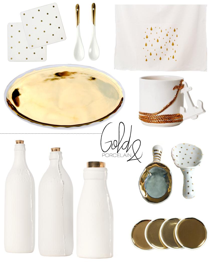 Dine X Design | Gold And Porcelain Kitchen Table Top Decor