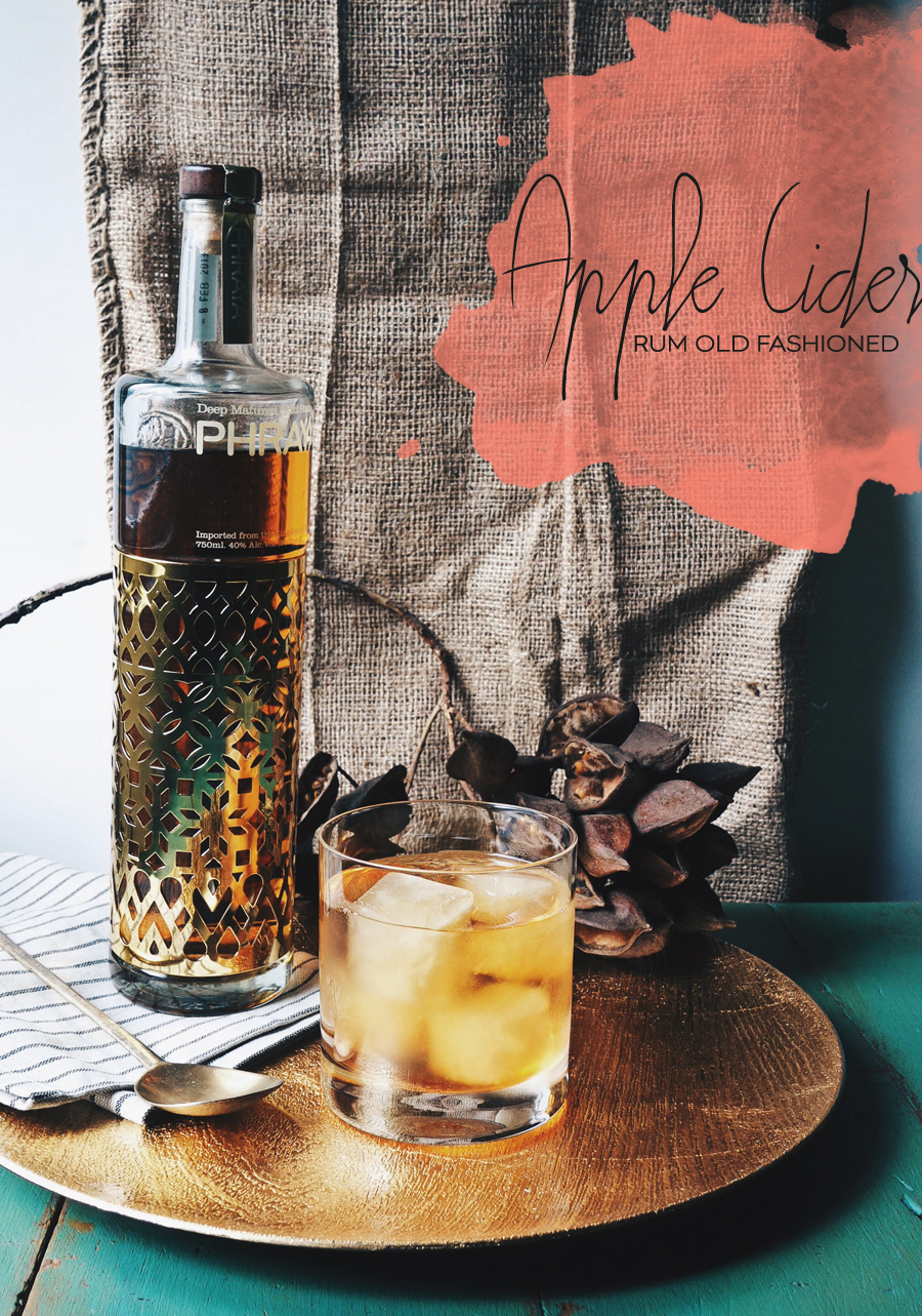 Apple Cider Rum Old Fashioned Cocktail | Dine X Design