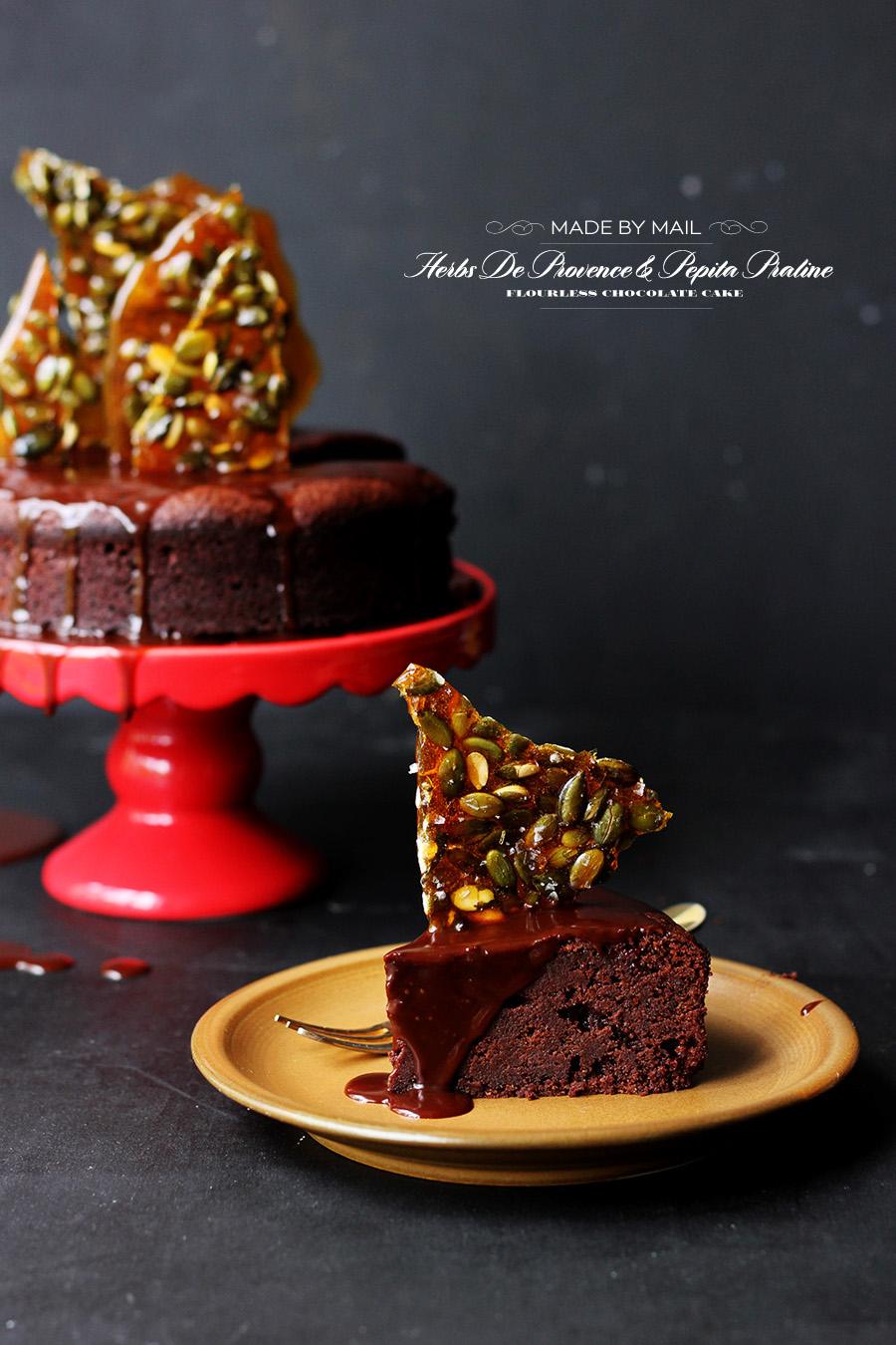 Herb De Provence Chocolate Cake | Pepita Praline | Sarah Coates | Dine X Design