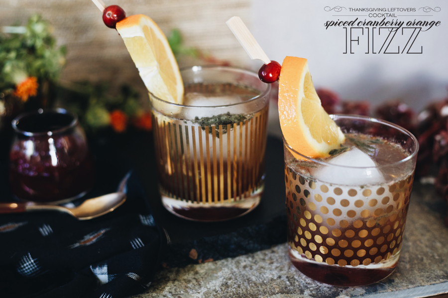 Dine X Design |Spiced Cranberry Orange Fizz Cocktail | Thanksgiving Leftovers | Dine X Design