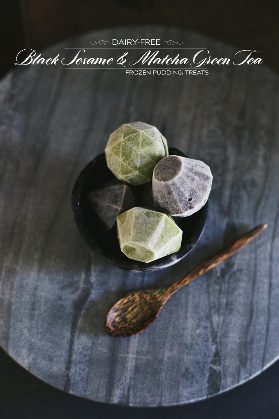 Dairy Free | Silk Almondmilk | Frozen Black Sesame And Matcha Pudding | Dine X Design