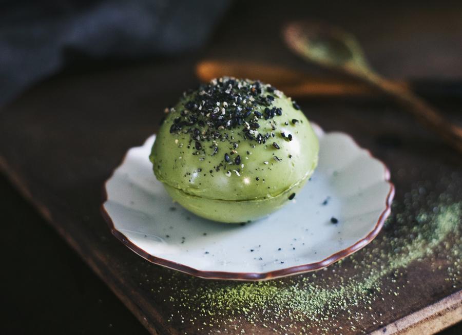 Matcha Green Tea Pudding Sphere | Dairy-Free | Dine X Design