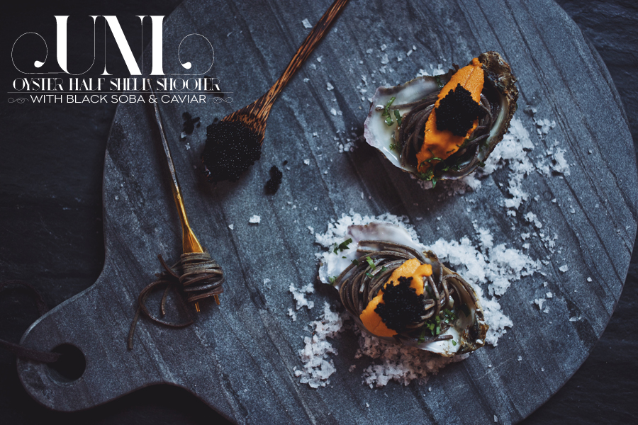Uni Oyster Shooters With Black Soba And Caviar | Dine X Design