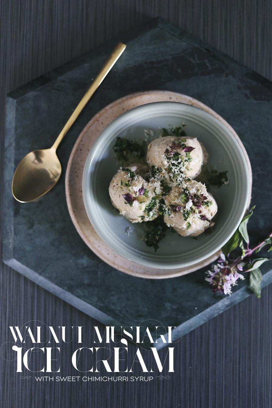 Walnut Mustard Ice Cream Recipe | Dine X Design