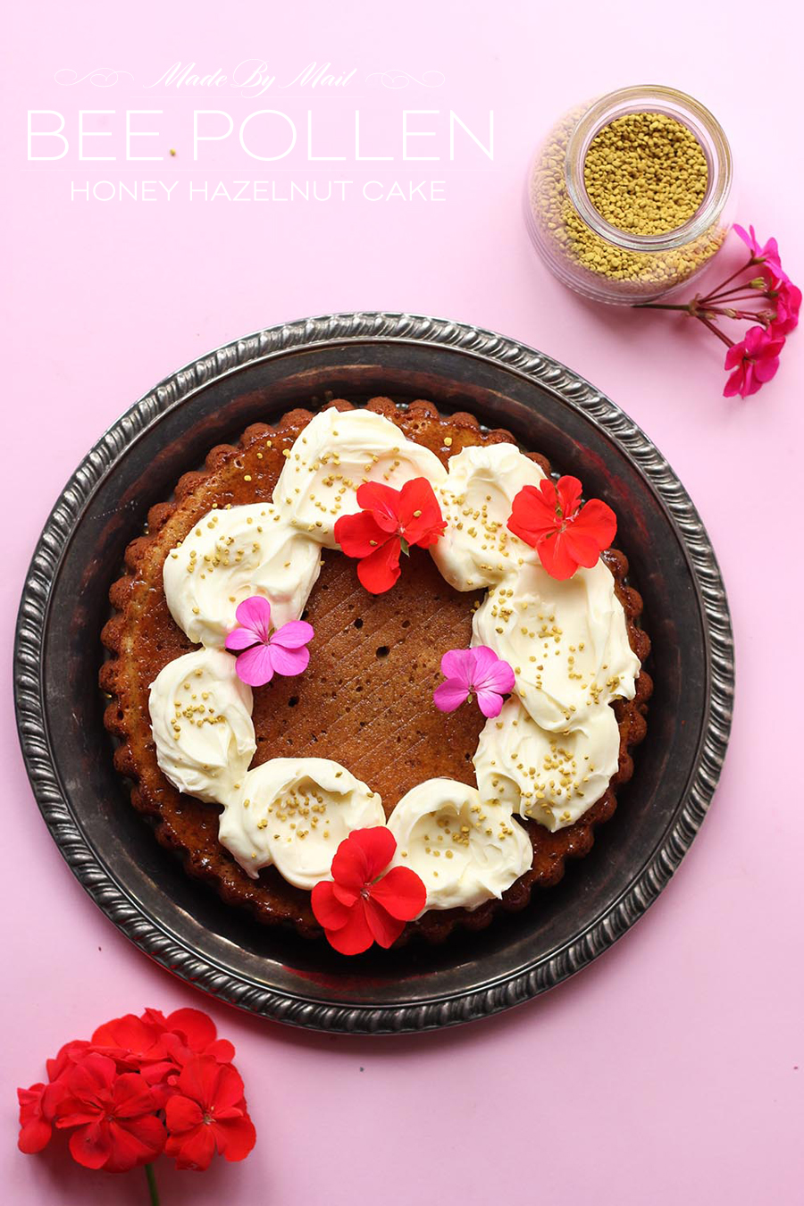Honey Hazelnut Bee Pollen Cake Recipe   Dine X Design