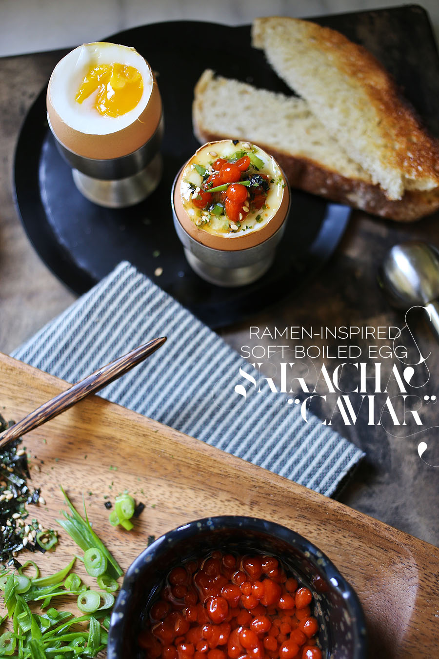 Ramen Inspired Egg With Sriracha Caviar Recipe | dinexdesign.com