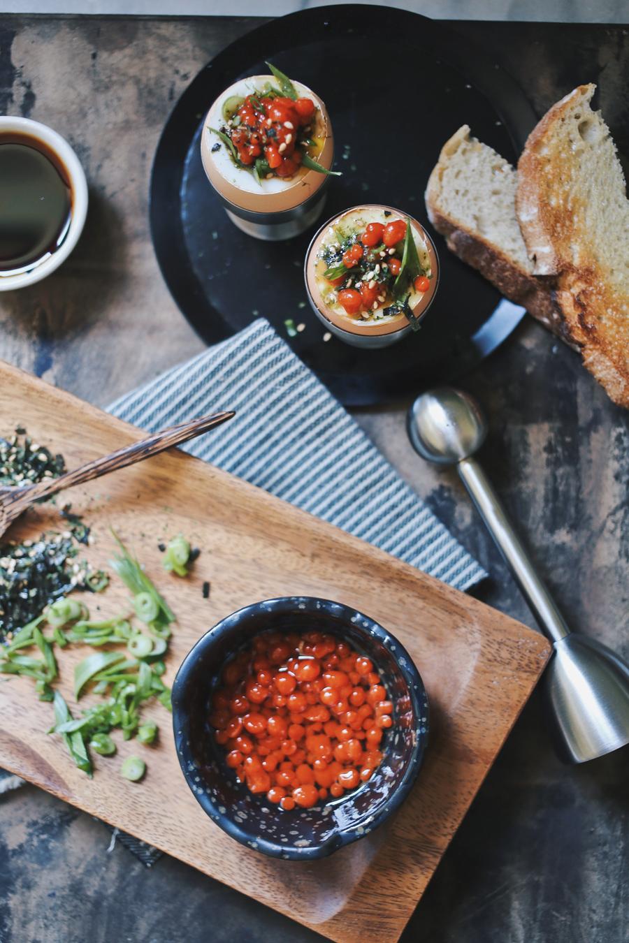 Sriracha Caviar Ramen Inspired Egg Recipe |dinexdesign.com