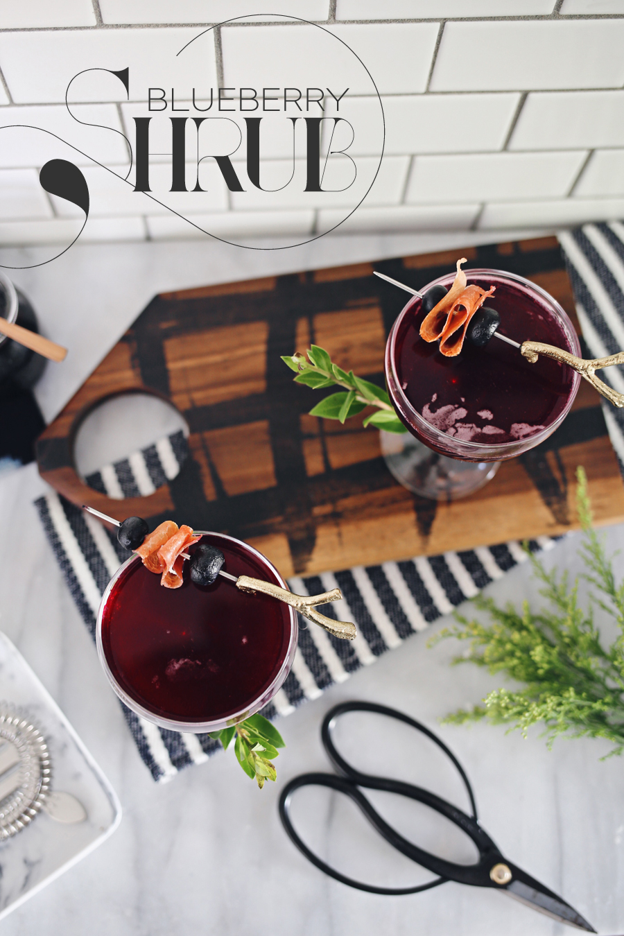 Blueberry Shrub Holiday Cocktail | Dine X Design