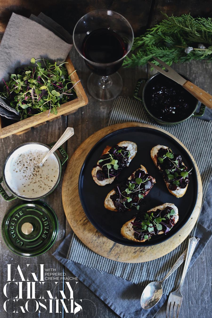 Tart Cherry Crostini | Dine X Design | Recipe
