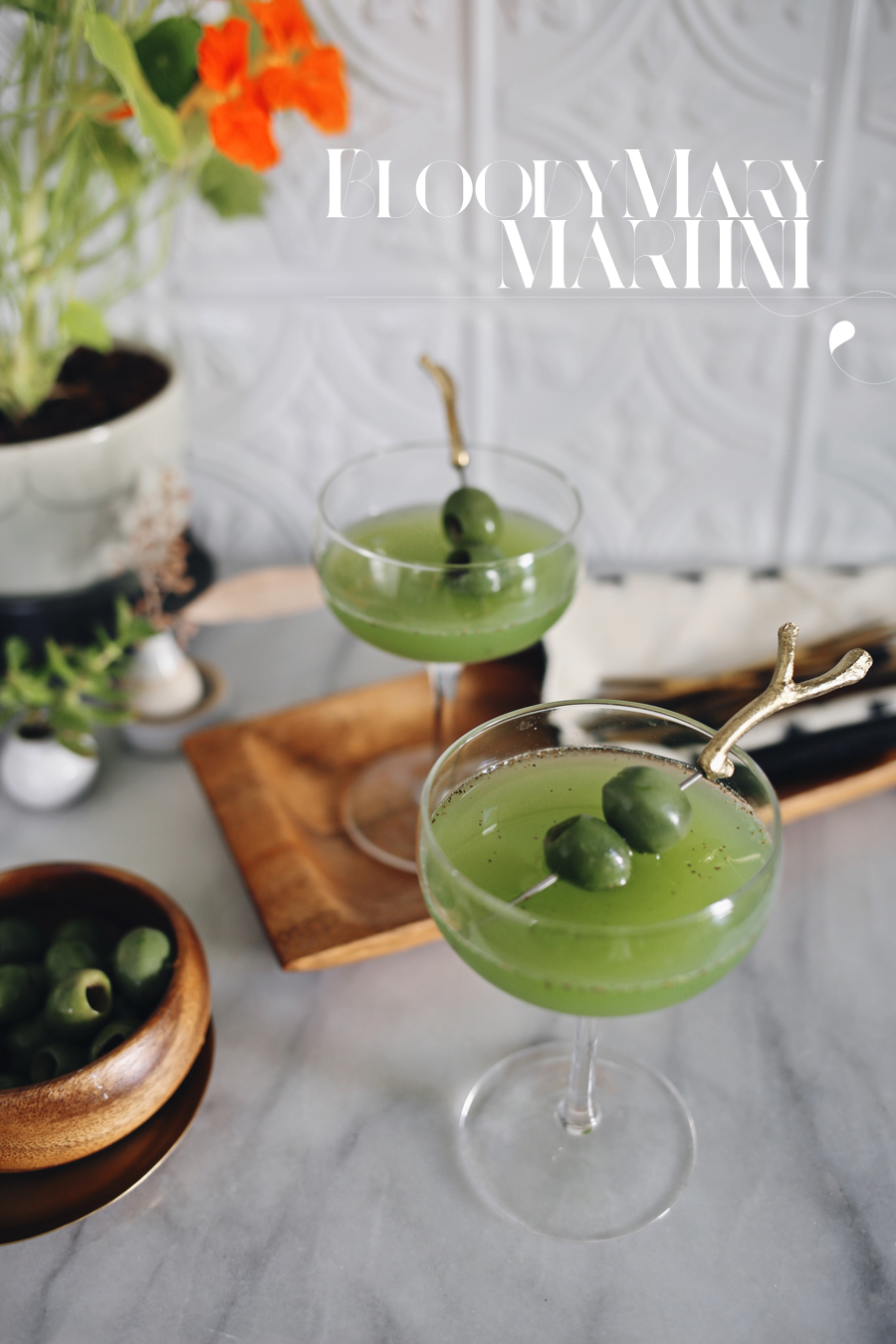Green Tomato Bloody Mary Martini | Kristin Guy HGTV | Dine X Design