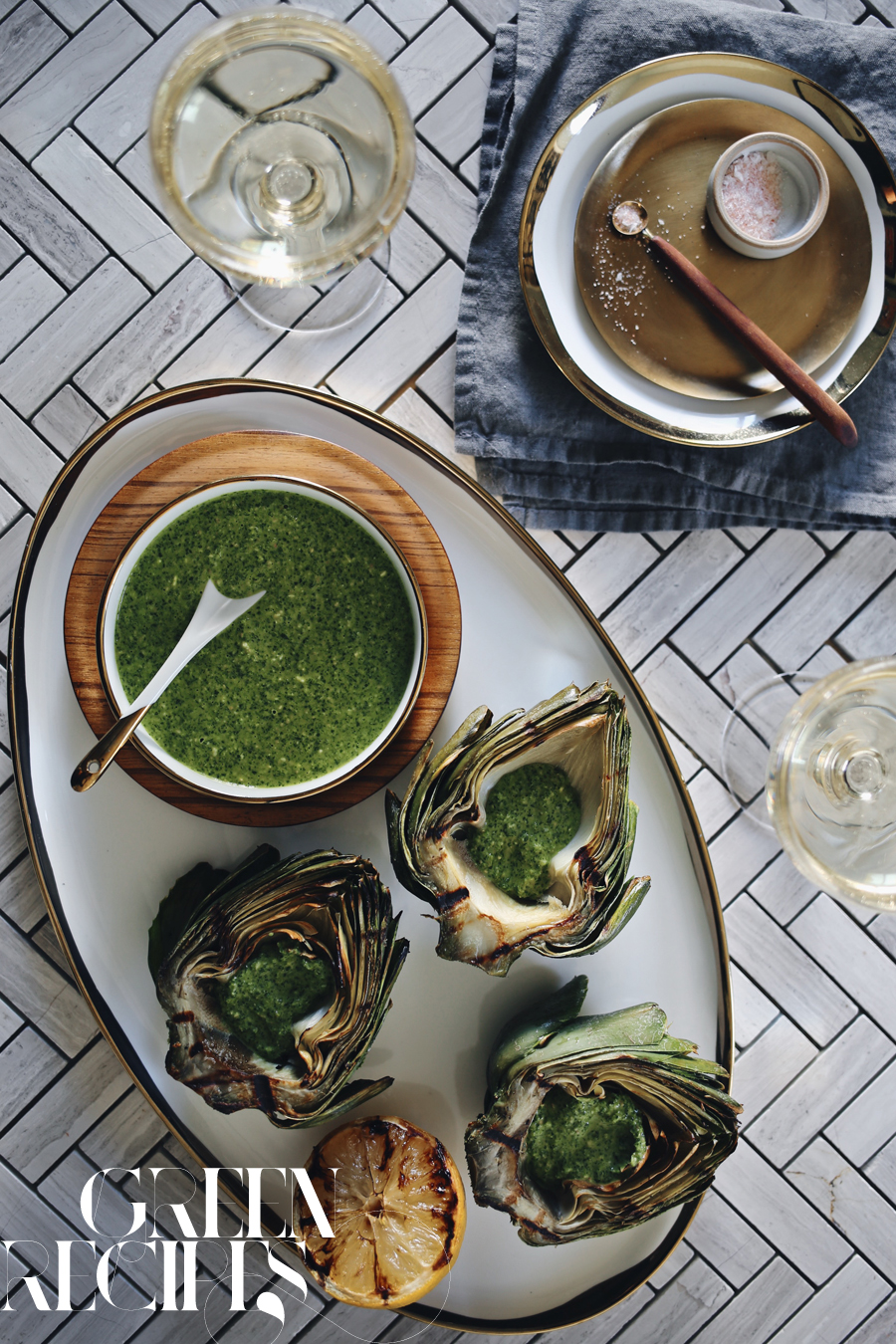 Grilled Artichoke Arugula Pesto Recipe | Kristin Guy HGTV | Dine X Design