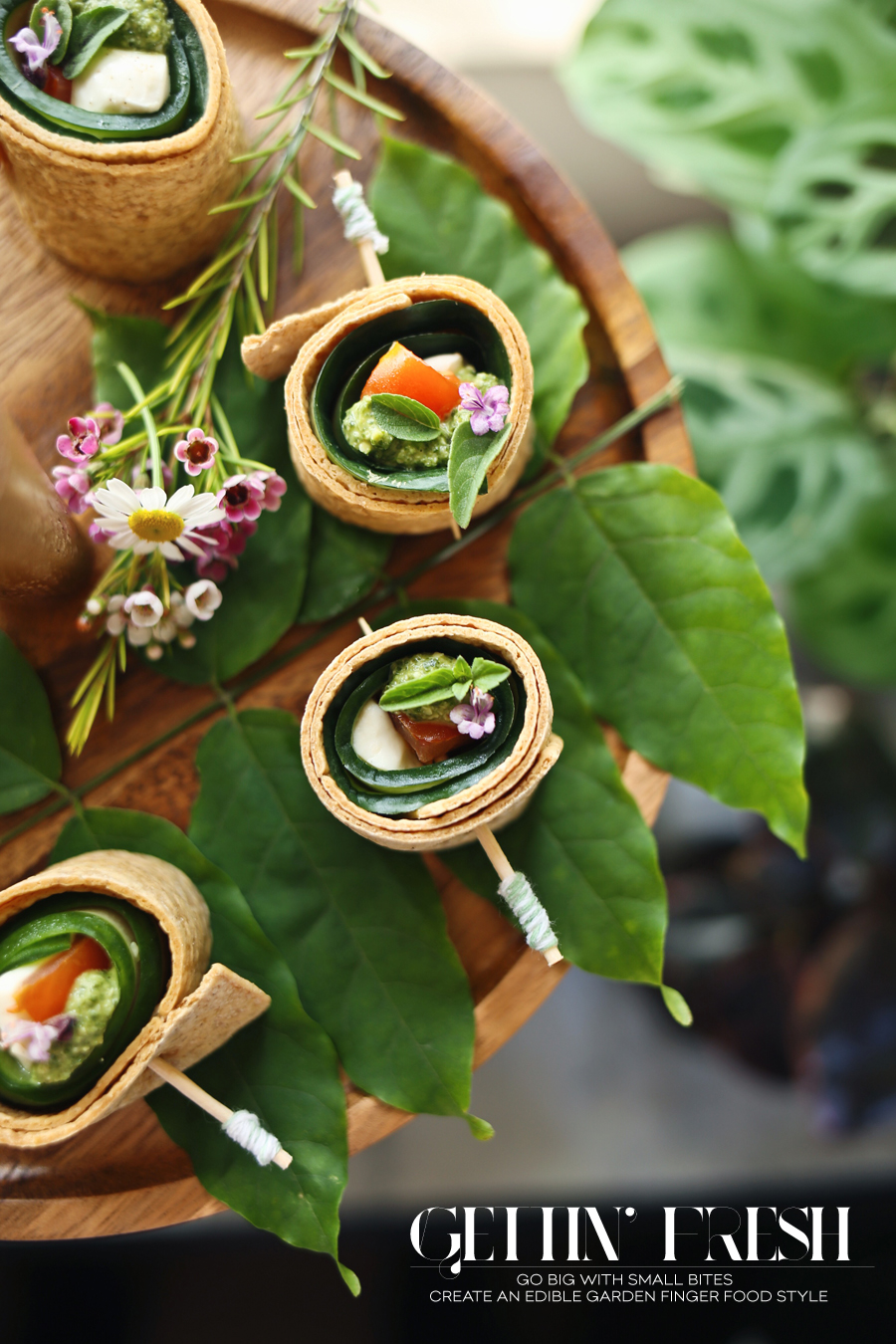 Arugula Pesto Caprese Wraps | Garden Party | Dine X Design