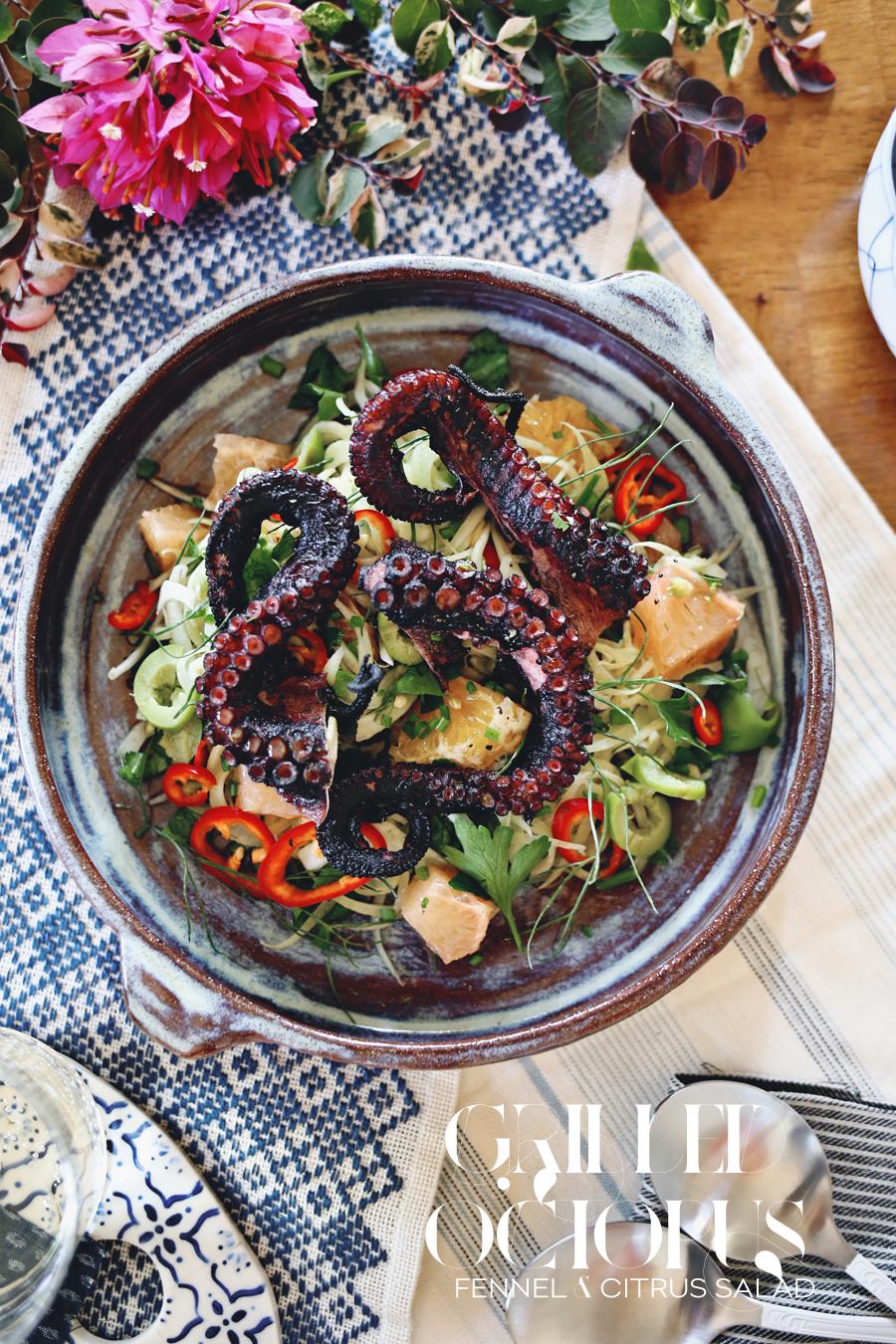 Grilled Octopus Fennel Citrus Salad Recipe | Dine X Design