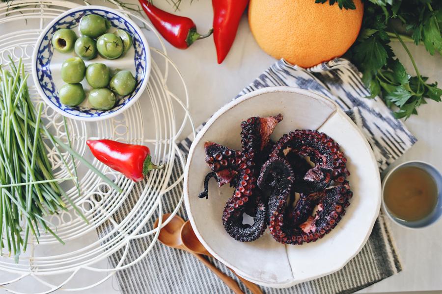 Grilled Octopus Salad Prep | Dine X Design