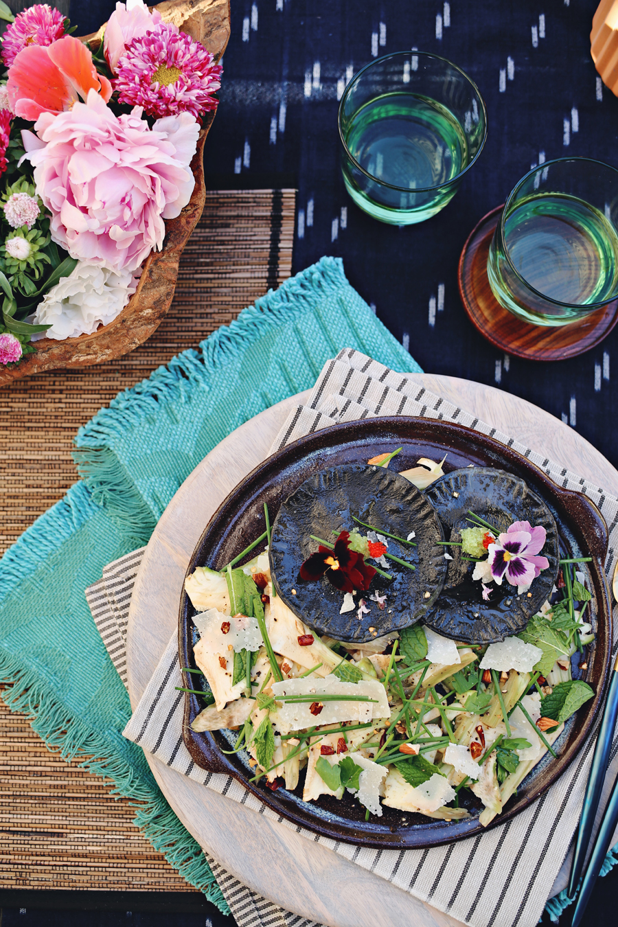 Squid Ink Pasta And Shaved Artichoke Salad | Dine X Design