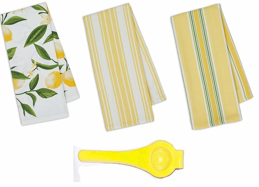 Lemon Botanical Dish Towels - I love these dish towels and this set comes with a bonus lemon juice press!