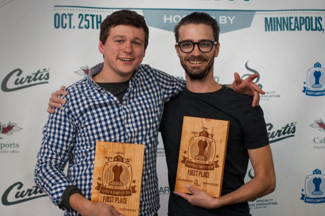 Josh Wismans, North Central Barista Competition Champion and Tyler Rovenstine, South Central Barista Competition