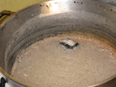 coconut being boiled