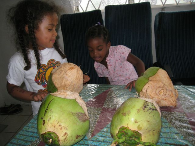 My daughter, left, teaching her cousin the joys of fresh coconut water