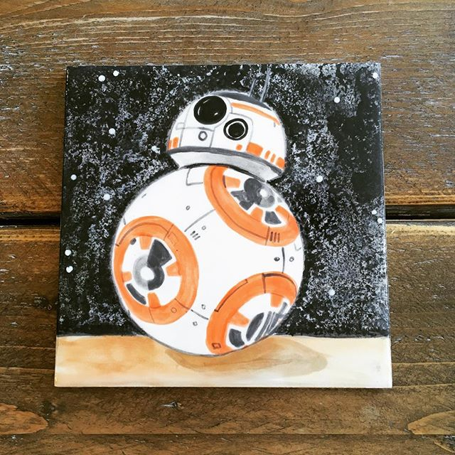 Fresh out of the kiln by a talented customer!  #herefordpottery #manicceramics #hereforshire #creative #starwars #tile #handpainted