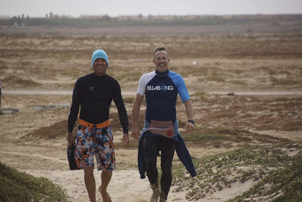 Marc Ramseier und ich während dem Kite-Camp auf Cabo Verde. Thanks Frank Bill für das Bild.