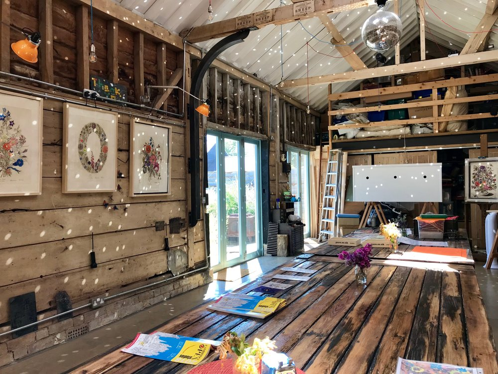 In the Studio - The Studio is a beautiful barn in Bassingbourn Cambridgeshire where she works on her Art, and for the first time she is opening her studio doors to facilitate workshops, retreats and private lessons for anyone who has a curiosity in exploring their creative potential.