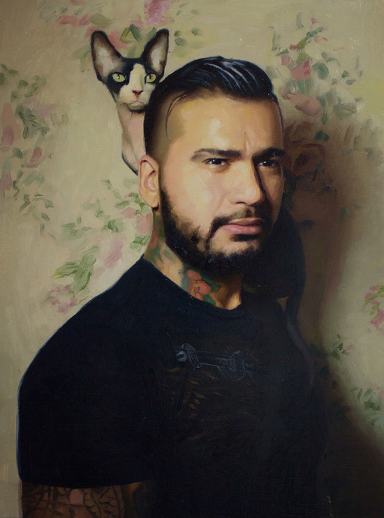 Teddy with his Sphinx   |  oil on board | 12 x 16 inches